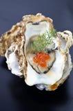 Geöffnete Auster mit Lachskaviar Lizenzfreie Stockfotos