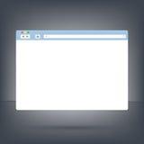 Geöffnete Browser Window Schablone auf dunklem Hintergrund Lizenzfreie Stockbilder