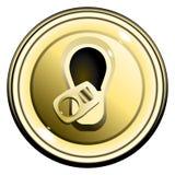 Geöffnete Dose der Taste Oberseite GoldBier Stockbilder
