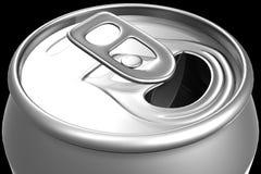 Geöffnete Getränkedose, Abschluss oben Stockfoto