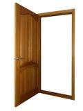 Geöffnete hölzerne Tür auf Weiß Lizenzfreie Stockfotos