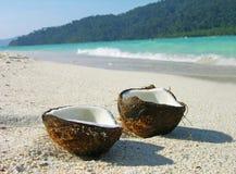 Geöffnete Kokosnuss auf dem Strand Stockfotografie
