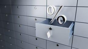 Geöffnete leere Bankeinlageprozente Stockfoto