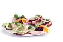 Geöffnete Sandwiche des Dänische Lizenzfreie Stockfotografie