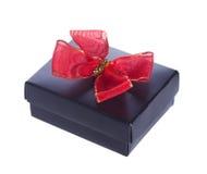Geöffnete schwarze Geschenkbox Stockfoto