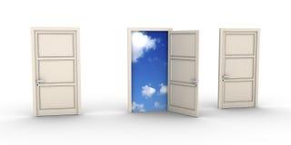 Geöffnete Tür führt zu den Himmel Lizenzfreies Stockbild