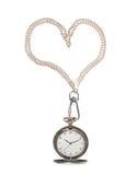 Geöffnete Taschenuhr auf einer Kette Stockbild