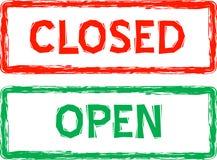 Geöffnete und geschlossene Zeichen für Einzelverkauf im Vektor lizenzfreie abbildung