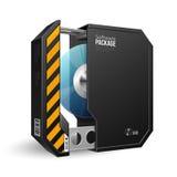 Geöffneter Achteck-moderner schwarzer Softwarepaket-Kasten lizenzfreie abbildung