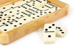 Geöffneter Bambuskasten mit Domino Lizenzfreie Stockfotos