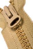 Geöffneter brauner Reißverschluss Stockfotografie