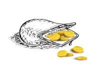 Geöffneter Hand gezeichneter Geldbeutel mit goldenen Münzen Auch im corel abgehobenen Betrag lizenzfreie abbildung