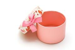 Geöffneter handgemachter rosafarbener Geschenkkasten Lizenzfreie Stockbilder