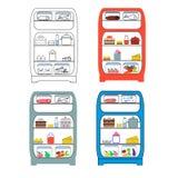 Geöffneter Kühlschrank mit Lebensmittel in einer grotesken Art Lizenzfreie Stockfotos