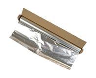 Geöffneter Kasten Aluminiumfolie auf einem weißen Hintergrund Stockfotografie