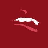 Geöffneter Mund mit Zahnhintergrund Stockfoto