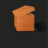 Geöffneter orange Kasten Stockbilder