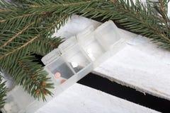 Geöffneter Pillenkasten Gezierte Zweige Auf einer Holzkiste lizenzfreies stockfoto