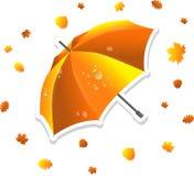 Geöffneter Regenschirm und wirbelnde Blätter vektor abbildung