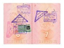 Geöffneter russischer Pass mit Stempeln Stockbild