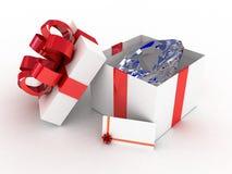 Geöffneter weißer Kasten des Geschenks Stockfoto