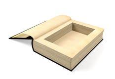 Geöffnetes altes Papierbuch mit einem Loch in einer Mitte für etwas nach innen verstecken vektor abbildung