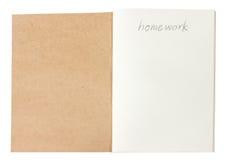 Geöffnetes braunes Notizbuch. Stockbild