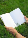Geöffnetes Buch auf dem Gras Stockbild