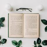 Geöffnetes Buch, Gläser, Grün verlässt auf weißem Hintergrund Flache Lage Stockfotos