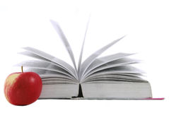 Geöffnetes Buch lokalisiert auf Weiß Lizenzfreies Stockfoto