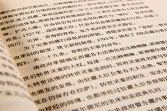 Geöffnetes Buch mit chinesischen Schriftzeichen Lizenzfreie Stockfotos