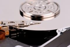 Geöffnetes der Festplattenlaufwerknahaufnahme des Computers Draufsichtfoto Lizenzfreies Stockfoto