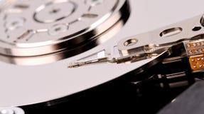 Geöffnetes der Festplattenlaufwerknahaufnahme des Computers Draufsichtfoto Lizenzfreie Stockfotografie