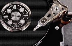 Geöffnetes der Festplattenlaufwerknahaufnahme des Computers Draufsichtfoto Stockfoto