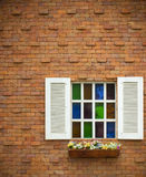 Geöffnetes farbiges Fenster Stockbilder