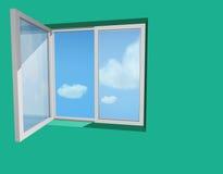 Geöffnetes Fenster in der grünen Wand Lizenzfreies Stockfoto