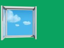 Geöffnetes Fenster in der grünen Wand Stockfoto