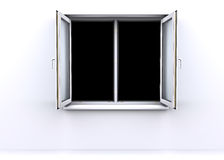 Geöffnetes Fenster mit einem schwarzen Hintergrund Stockfotos