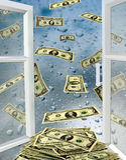 Geöffnetes Fenster mit Wassertropfen und Dollar Stockfoto