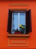 Geöffnetes Fenster und Blume Stockfotos