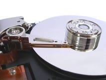 Geöffnetes Festplattenlaufwerk des Computers getrennt auf Weiß Lizenzfreie Stockbilder