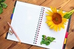 Geöffnetes gewundenes Notizbuch mit Bleistift, Bleistiftspitzer und Lizenzfreie Stockfotografie