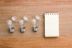 Geöffnetes gewundenes Notizbuch mit Glühlampe Stockbilder