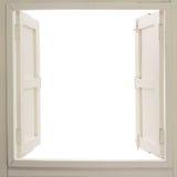 Geöffnetes hölzernes Fenster Lizenzfreie Stockbilder