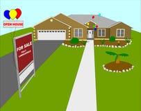 Geöffnetes Haus verschönerte Illustra landschaftlich Lizenzfreies Stockfoto