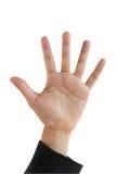 Geöffnetes isolet Hand der Geschäftsfrau auf Weiß lizenzfreies stockbild