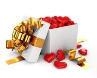 Geöffnetes Kasten gefülltes Inner-Valentinsgrußtageskonzept Stockbild
