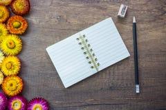Geöffnetes Leerseitennotizbuch auf hölzerner Tabelle mit Bleistift, Bleistiftspitzer Stockfotografie
