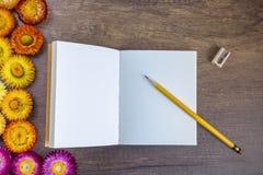 Geöffnetes Leerseitennotizbuch auf hölzerner Tabelle mit Bleistift, Bleistiftspitzer Lizenzfreies Stockfoto