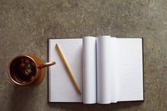 Geöffnetes Notizbuch mit Leerseiten auf braunem grauem Schmutzhintergrund stockbild